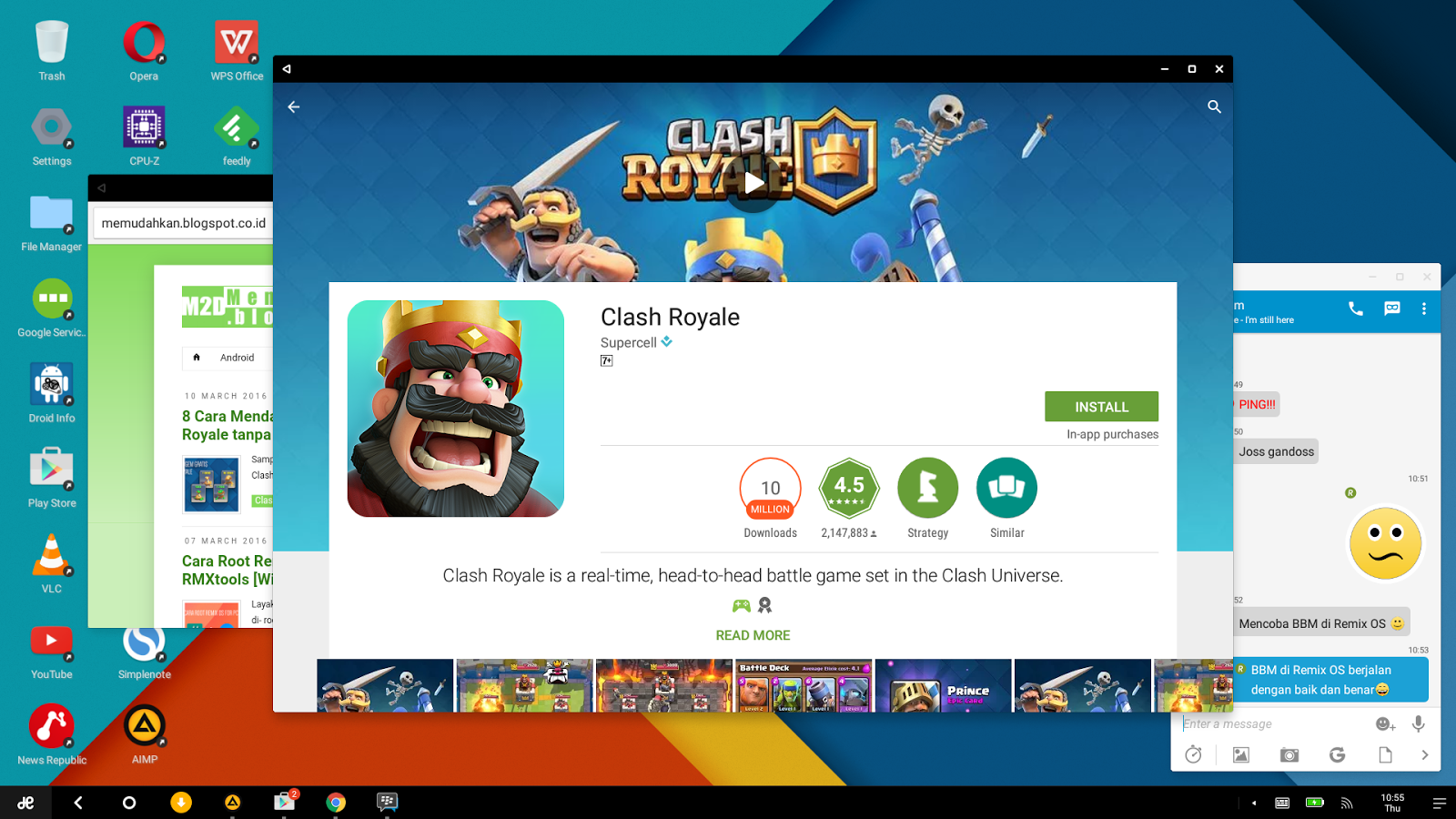 Cara Main Clash Royale Di Laptop Atau PC Tanpa Emulator Remix OS