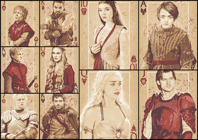 Game of Thrones Free Printable Posters like Poker Cards.