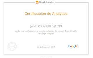 Certificado Jaime Rodríguez Jalón y Olea Google Analytic
