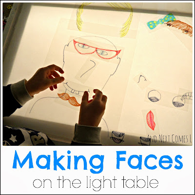 Making funny faces on the light table from And Next Comes L