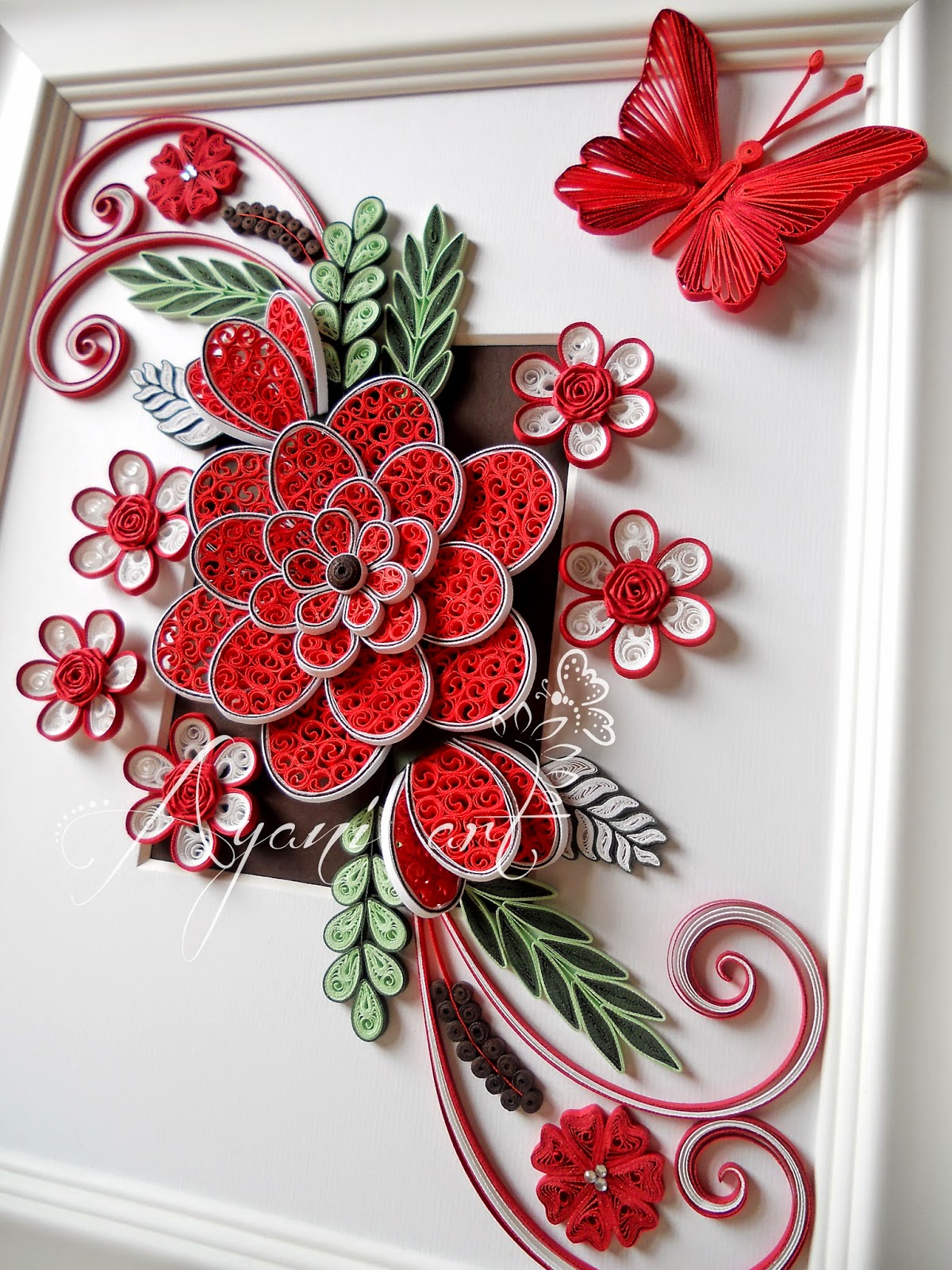 Ayani art: Quilling in Red and White