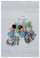 boucles d'oreilles éléphants et perles acidulées