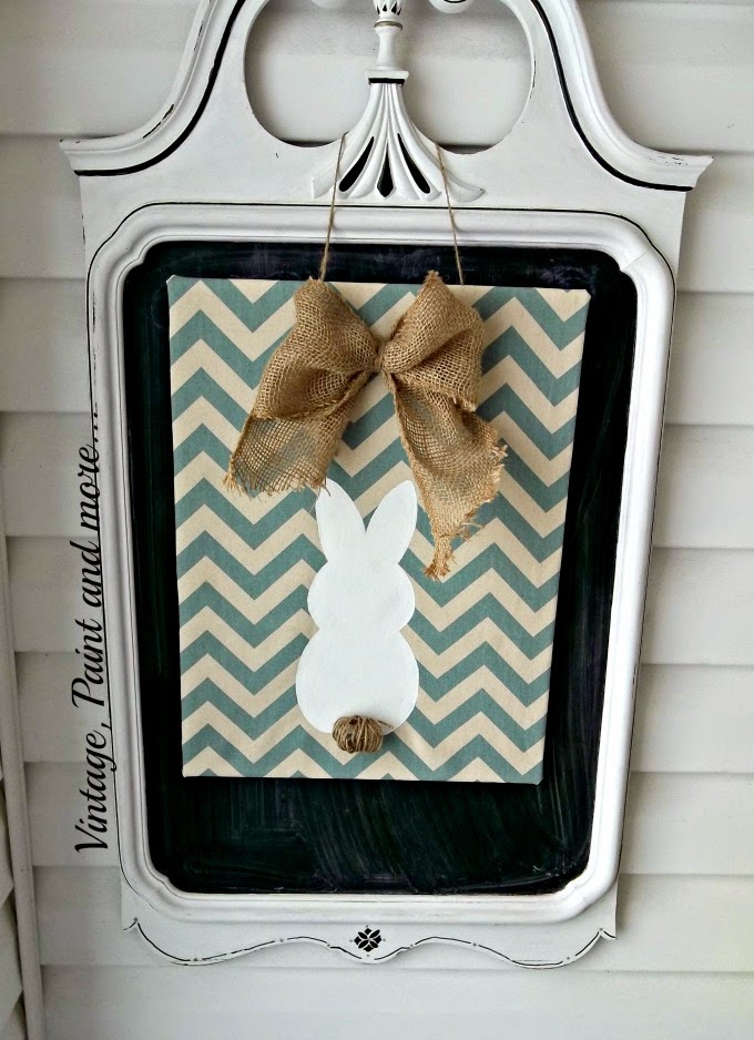 Spring Entryway - chevron bunny sign, repurposed mirror to chalkboard