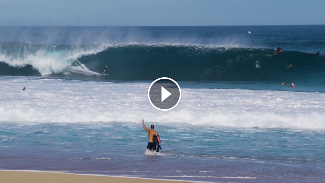 Raw footage of Big Wave Surf Session at Pipeline North Shore Oahu Hawaii on March 31st 2019