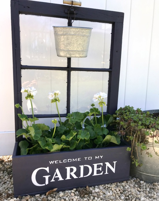 Stenciled Window Flower Box Planter with Geraniums