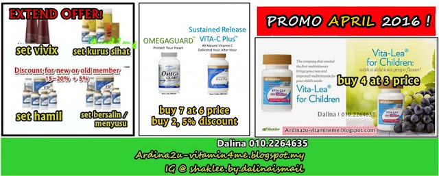 Promosi SHAKLEE APR 2016. Omega, Vita C SR, Vivix, Vitalea for Children, YES Set (Pranatal, Postnatal, Healthy Fitness, Healthy Living), Detox Set