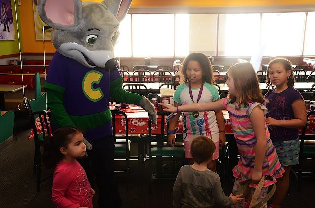 Meeting the big guy before the party got started #ChuckECheeseParty