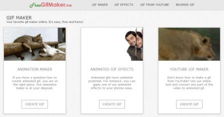Untuk menggunakan situs ini, Anda akan memerlukan setidaknya 3 gambar untuk membuat GIF. Namun, Anda selalu dapat menambahkan lebih dari itu karena memungkinkan hingga 10 gambar yang dapat diunggah. Juga mendukung 5 kecepatan frame yang berbeda.  Selain penciptaan GIF biasa, freeGIFmaker (http://freegifmaker.me/) memungkinkan Anda untuk memberi opsional efek seperti Blur, Guggle atau Motley untuk diterapkan pada animasi GIF.