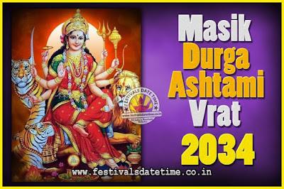 2034 Masik Durgashtami Vrat Date & Time, 2034 Masik Durgashtami Vrat Calendar
