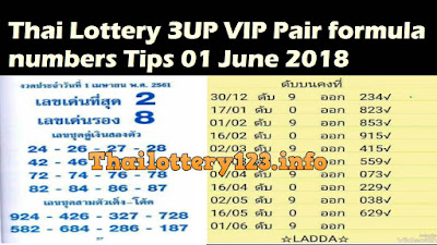 Thai Lottery 3UP VIP Pair formula numbers Tips 01 June 2018