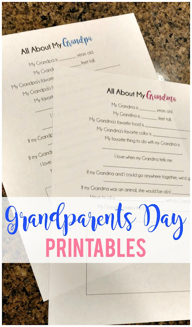 FREE Grandparents Day printables--Print them, fill them out and send them in the mail for a fun surprise!