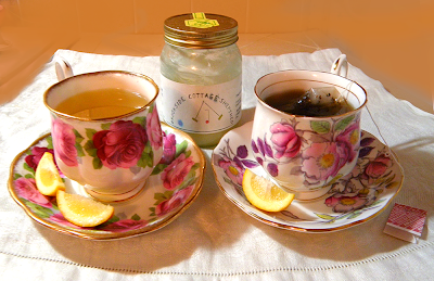 Two Cups of Tea with Shepshed Honey Bottle