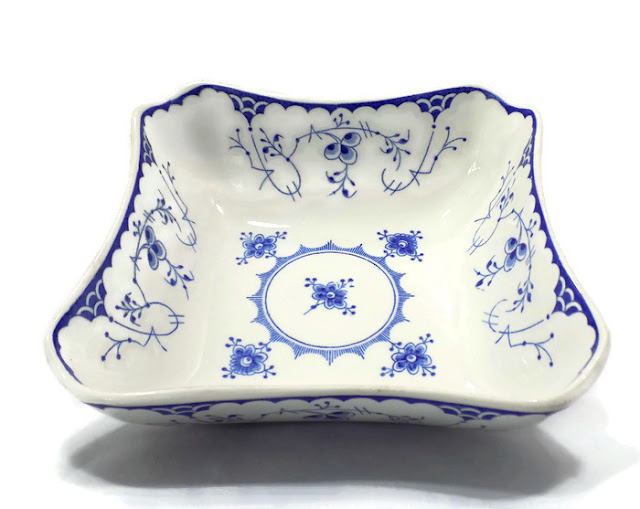 Blue and White Meissen Pattern Antique Villeroy and Boch Bowl