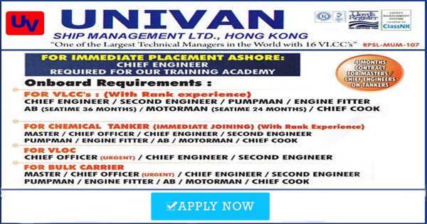 Full Crew For Univan Company - Seaman jobs   Seafarer Jobs