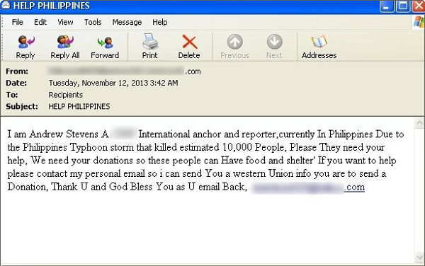 Philippines Typhoon Haiyan scam email
