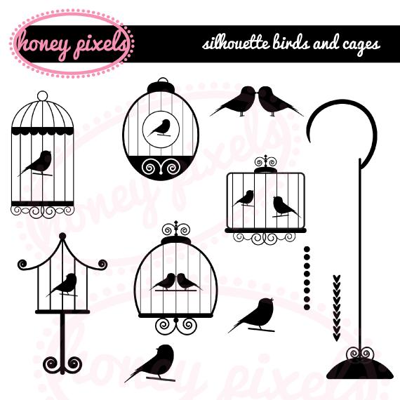 Simple Love Bird Silhouette