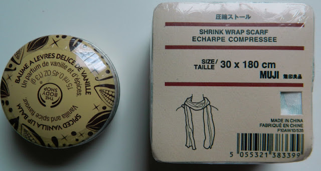 body shop spiced vanilla lip balm and mint and white stripe shrink wrap scarf