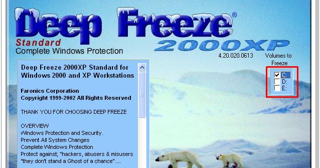 TÉLÉCHARGER DEEP FREEZE 2000XP GRATUIT