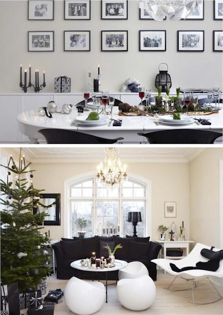 decoracion navideña a blanco y negro