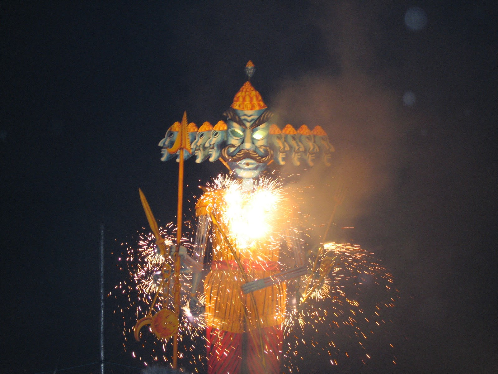 Burning of Ravana effigy during Dussehra