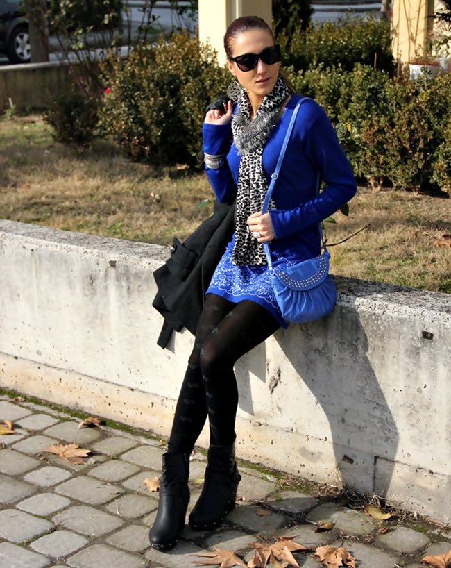 cobalt blue studded purse and sweater