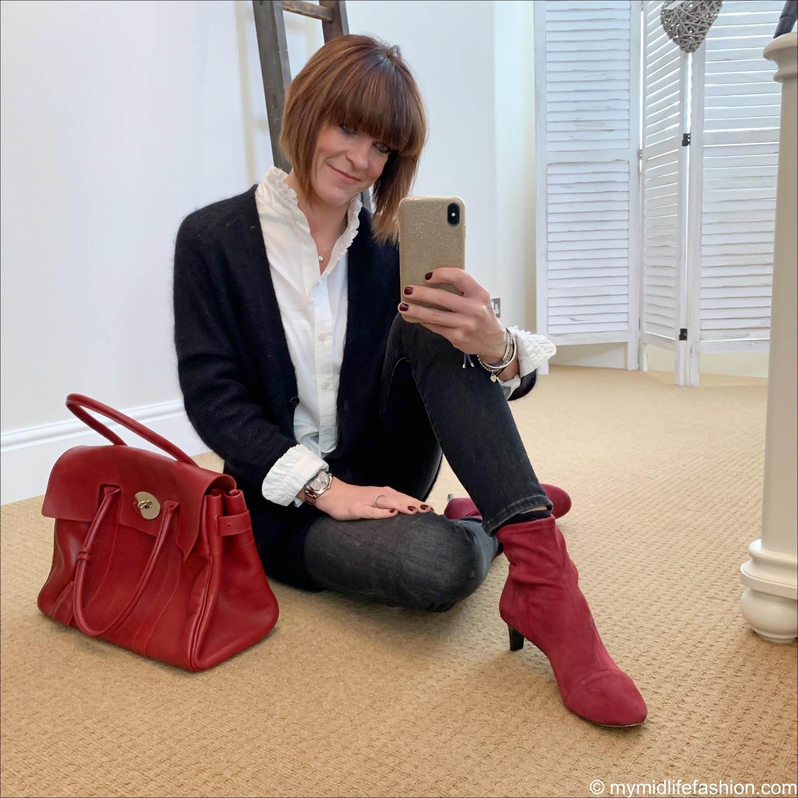 my midlife fashion, isabel marant etoile mohair cardigan, uniqlo high collar frill blouse, j crew 9 high rise toothpick jean in charcoal wash,mulberry bayswater bag, isabel marant goat suede sock ankle boots