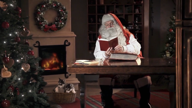 Screenshot showing Santa in his office