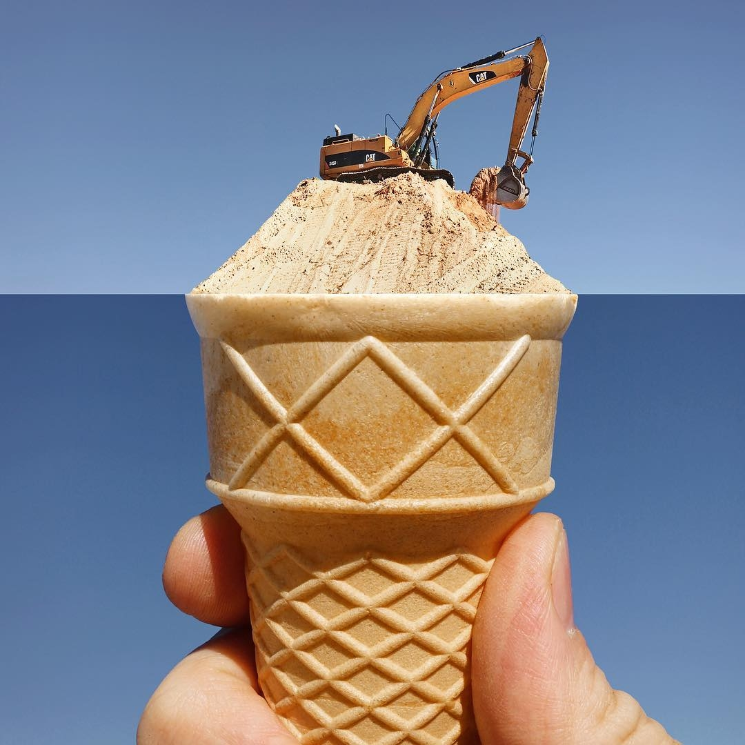 11-Excavator-Ice-Cream-Cone-Stephen-McMennamy-Two-Photographs-Joined-to-Make-a-Scene-www-designstack-co