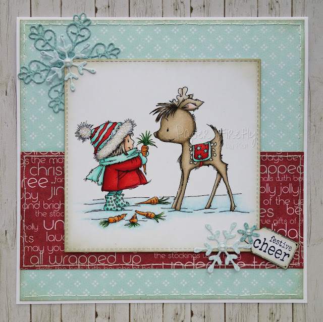 Christmas card using Happy Reindeer digistamp from Lili of the Valley