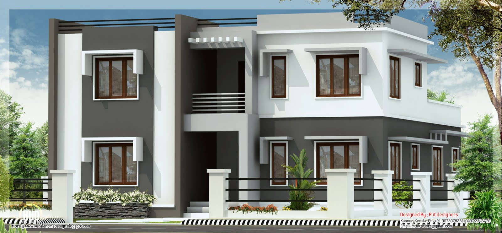 Wide flat roof 3 bedroom home design kerala home design for Flat roof elevation