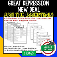Great Depression & New Deal, American History Outline Notes, American History Test Prep, American History Test Review, American History Study Guide, American History Summer School, American History Unit Reviews, American History Interactive Notebook Inserts