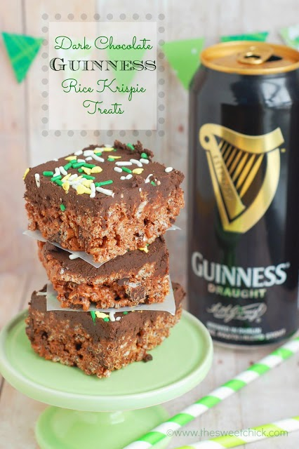 Dark Chocolate Guinness Rice Krispie Treats @www.thesweetchick.com
