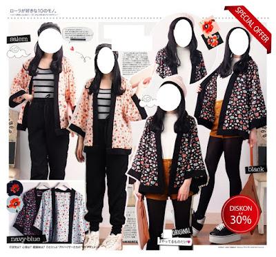 jual kimono kardigan cardigan baju korea impor murah