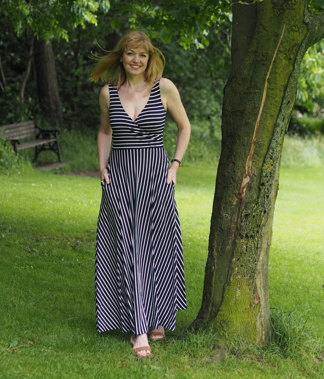 The Boden full-skirted striped maxi dress