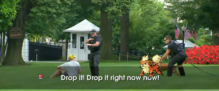 A Pokémon hat wearing guy invades the White House lawn
