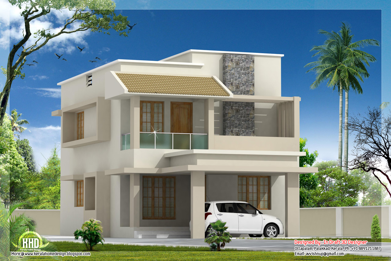 1770 modern villa with construction cost kerala for Indian small house design 2 bedroom