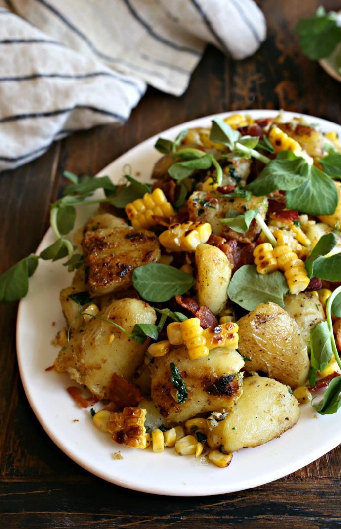 Pan-Roasted-Smokey-Potato-Salad-with-Corn-and-Bacon