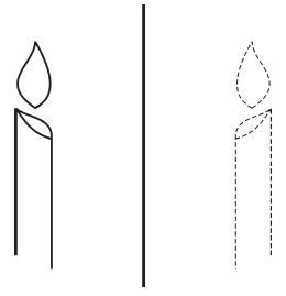 Bayangn sebuah lilin pada cermin datar