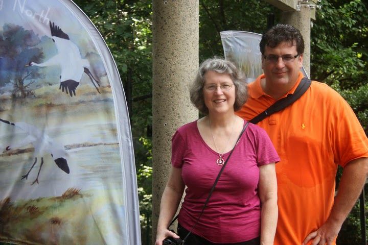 Smithsonian National Zoo with one of my Whooping Crane banners and son, John--2014