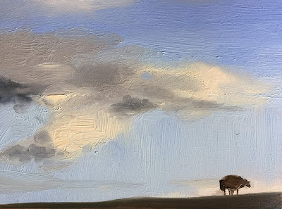 Clouds over the dyke, skyscape with sheep in oil by Philine van der Vegte