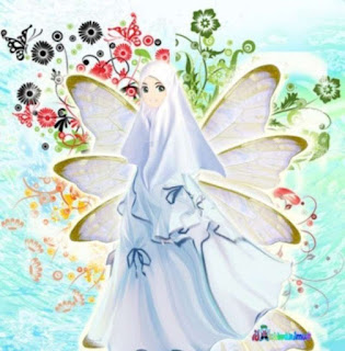 animasi kartun muslimah imut cantik dengan bunga