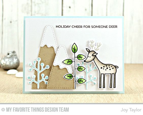 Handmade card from Joy Taylor featuring Deer Friends stamp set and Die-namics, and Snow-Capped Mountains Die-namics #mftstamps