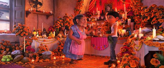 Pixar Coco Abuileta and Miguel at the Ofrenda