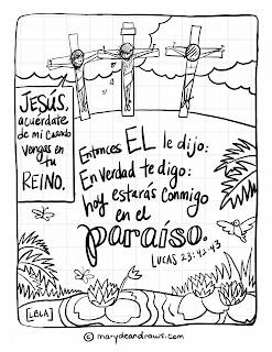 Come + Luke 23:42-43 Bible coloring page (English + Spanish ...