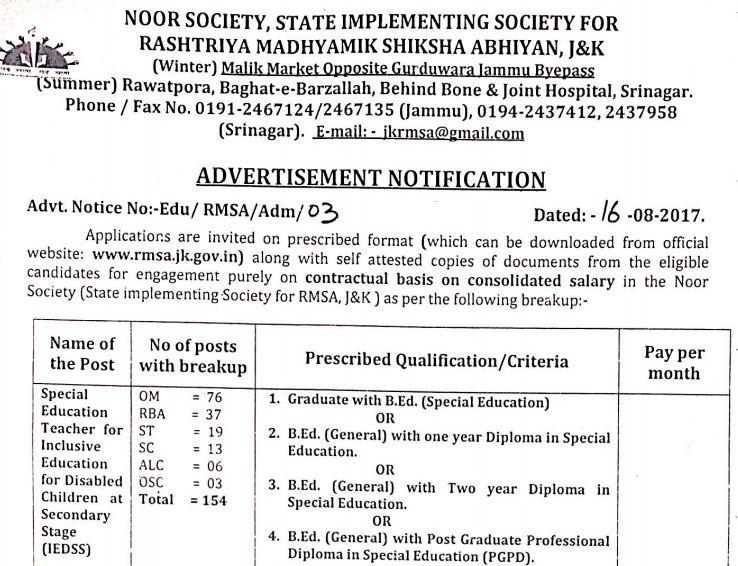 J&K RMSA Special Education Teachers :154 vacancies | Jobs in Jammu