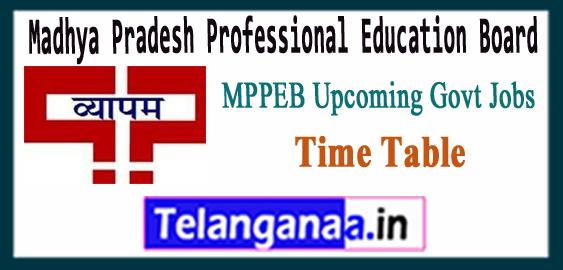 Madhya Pradesh Vyapam Calender Time Table 2017-18 Upcoming Govt Job