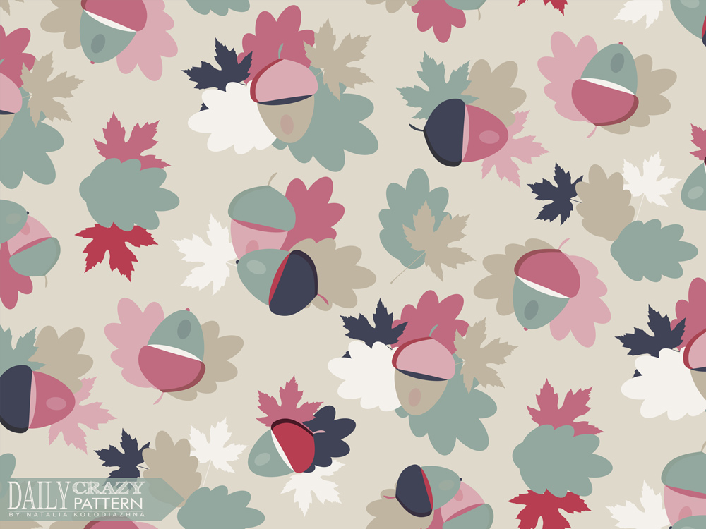 "Autumn pattern with leaves and acorns for ""Daily Crazy Pattern"" project"