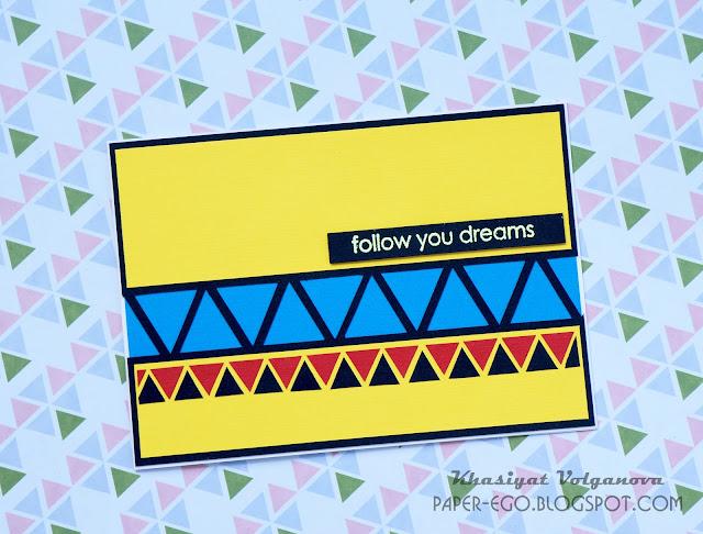 A geometric cas-card with color cardsstock.