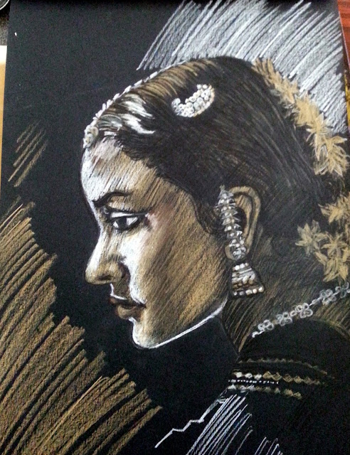 COLOURED CHARCOAL ON BLACK PAPER