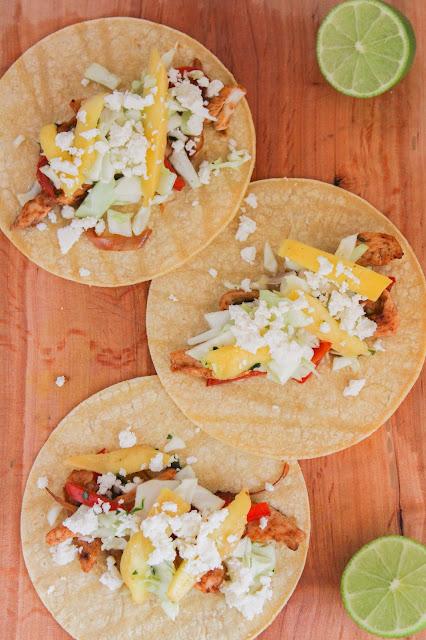 Caribbean Chicken Tacos with Mango Slaw | The Chef Next Door